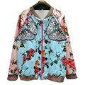 2016 Primavera Queda EUA Inglaterra França Populares Seda Pássaro Abelha Borboleta Flor Bordado Jaqueta Piloto Uniforme OL Menina Outwerwear