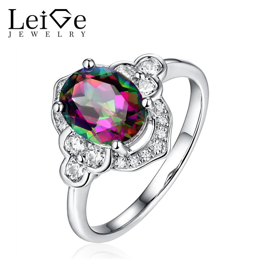 Leige Jewelry Sterling Silver Oval Cut Mystic Topaz Rings for Women Wedding Anniversary Fine Jewelry Classic