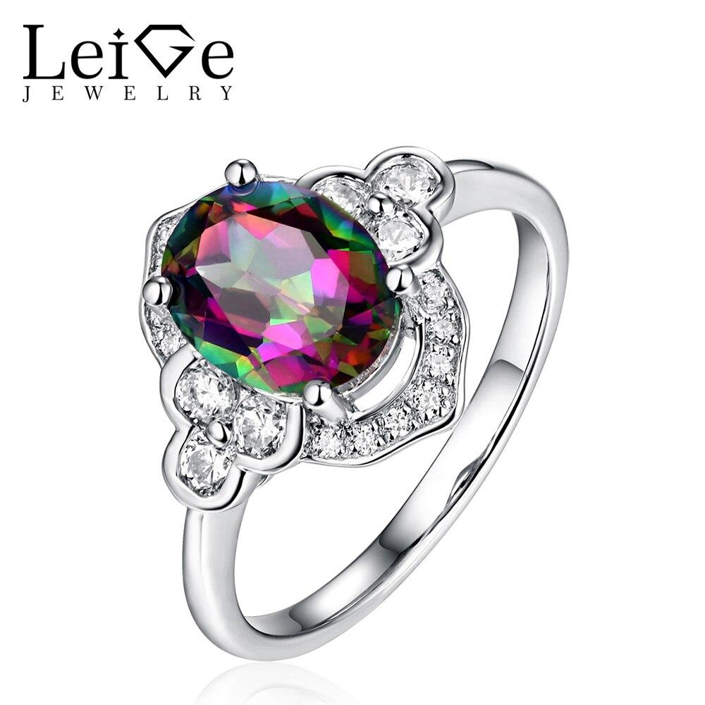 Biżuteria lab Leige szmaragdowy srebro owalne cięcia Mystic Topaz pierścienie dla kobiet rocznica ślubu Fine Jewelry klasyczny prezent na Boże Narodzenie w Pierścionki od Biżuteria i akcesoria na  Grupa 1