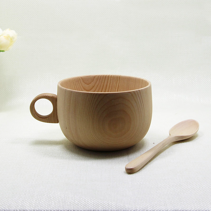 1pcs 250ml Natural Japanese <font><b>Hemlock</b></font> Wooden Coffee <font><b>Cup</b></font> With Handgrip Creative Gift For Family