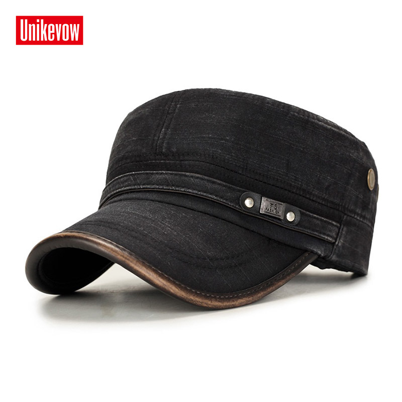 UNIKEVOW Military Cap 100% Cotton Flat Top Hat For Men Vintage Army Hat Cadet Military Patrol Cap Outdoor Cap With Pu Visor