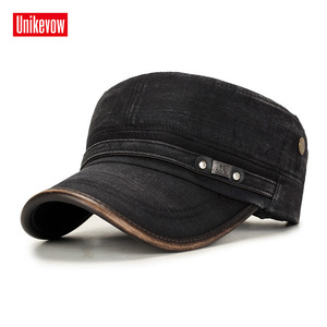 UNIKEVOW Military cap 100% cotton flat top Hat for men Vintage Army Hat Cadet Military Patrol Cap outdoor cap with Pu visor(China)