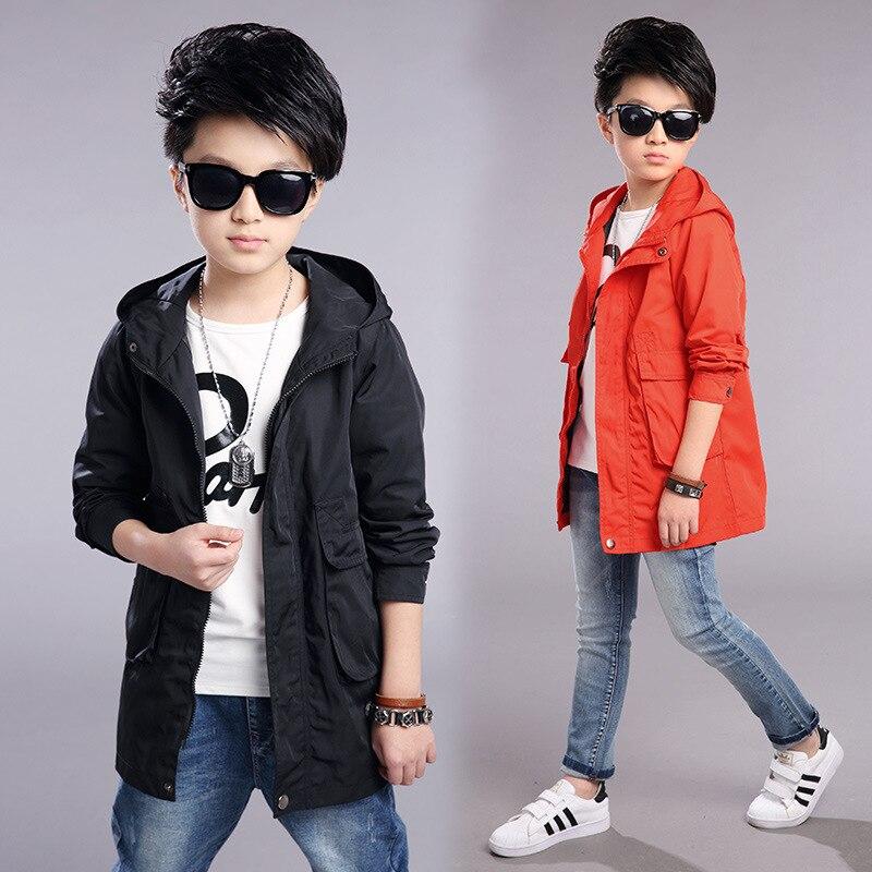 2017 Обувь для мальчиков ветровка с капюшоном пальто осень мода крышка Пальто для будущих мам корейская детская одежда От 6 до 13 лет