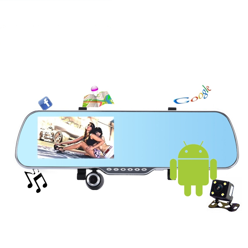 5 inch rearview mirror GPS android dual core 1080P Dashcam+backup Camera load map Navitel 9.1or full Europe map