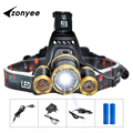 CREE XmL T6 LED Headlight 10000Lm 3T6 Headlamp Flashlight Head Torch Linterna 18650 Rechargeable Waterproof Outdoor Lighting