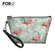 FORUDESIGNS Cartoon Women Make Up Bags Flamingo Prints Pattern Comestic Bags PU Leather Travel Toiletry Pockets Lady Beauty Case