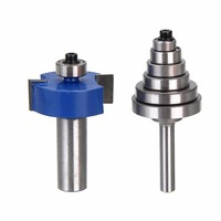 1pc 1 2 Shank Carbide Rabbet Router Bit Woodworking Cutter With 6 Bearings Set For Power