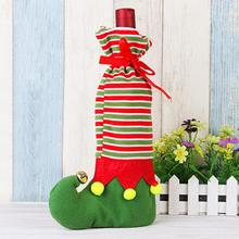 1pc Christmas Wine Bottle Bag Dinner Party Decoration 3 Colors Bottle Cover Bag New Year Supplies