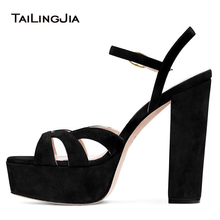Black Platform Sandals High Heel Stripper Shoes Woman 2019 Heels Women Summer Ladies Womens Brown Sandal Buty Chunky Open Toe