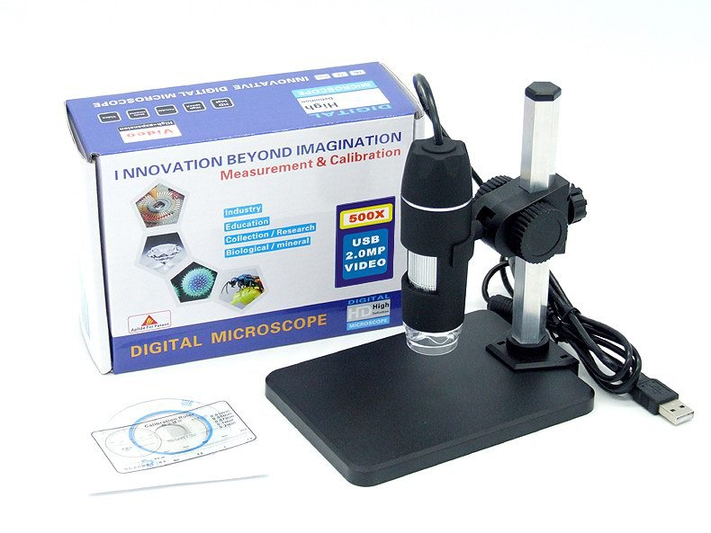 New 500X 2MP USB 8 LED Digital Microscope Endoscope Magnifier Camera 30fps +Lift Stand+Calibration Ruler 2 led magnifier