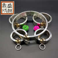 Stainless Steel Set bdsm bondage Collar handcuffs Ankle Cuffs adult sex toys for couples bdsm slave sex tools for sale.