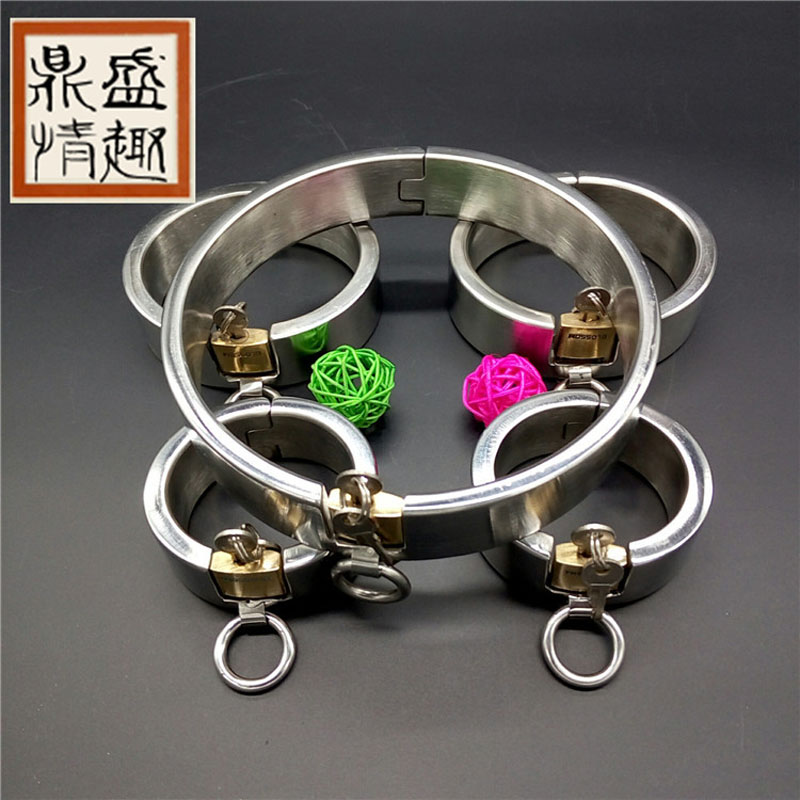 Buy Stainless Steel Set bdsm bondage Collar handcuffs Ankle Cuffs adult sex toys couples bdsm slave sex tools sale.