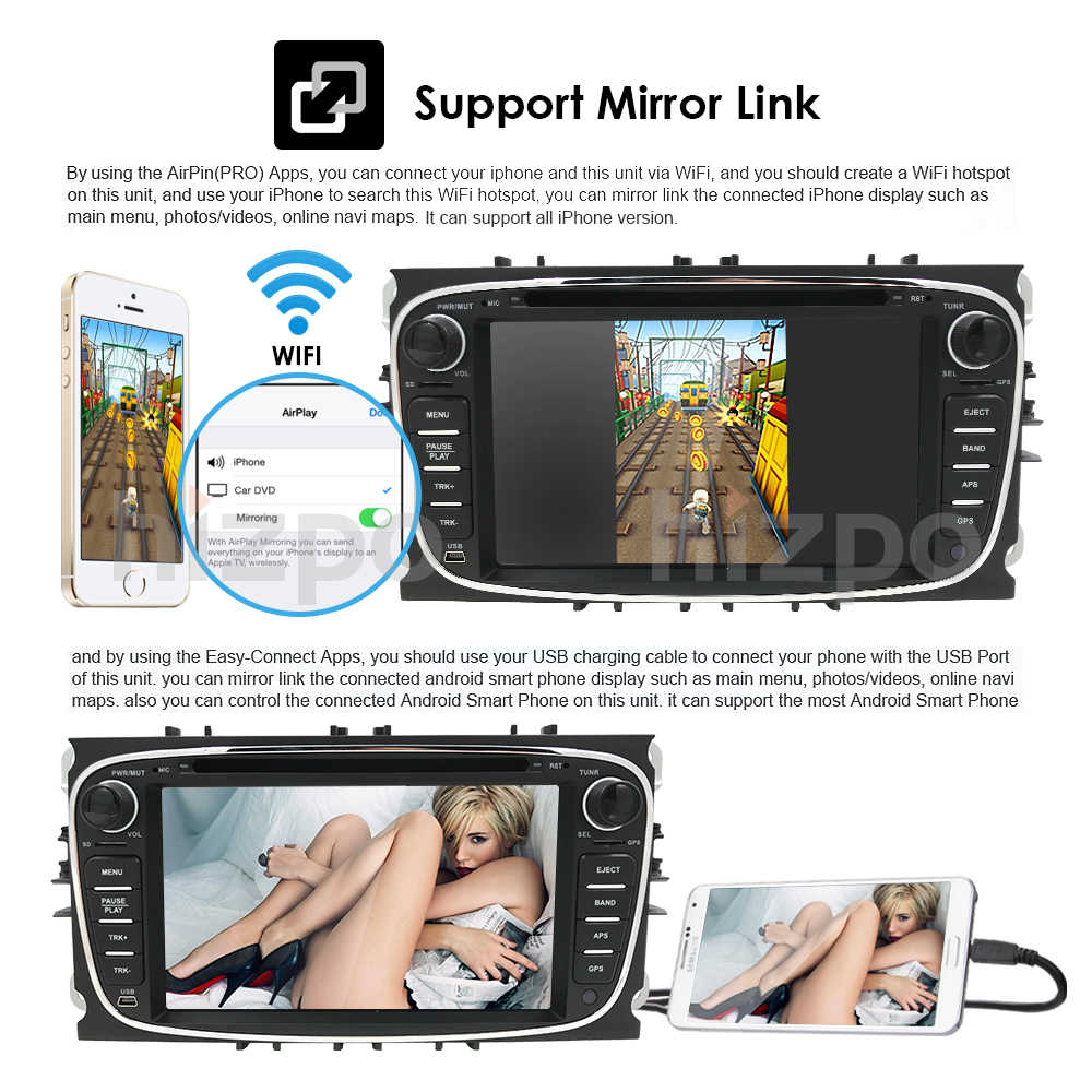 2G+16G Android 8 1 4G Car Radio Multimedia Video Player Navigation GPS For  ford focus Mondeo Galaxy Transit Connect 2 din dvd CD