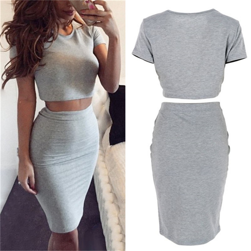 Summer Short Sleeve Top Women's Club Skirt Two Piece Outfits  Midi Skirts Sexy Party Bodycon Vestidos