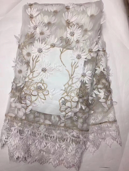 African Lace Fabric With Beades 3d lace fabric 2018 high quality lace 2018 High Quality Bridal For Nigerian Lace Party KLYY920