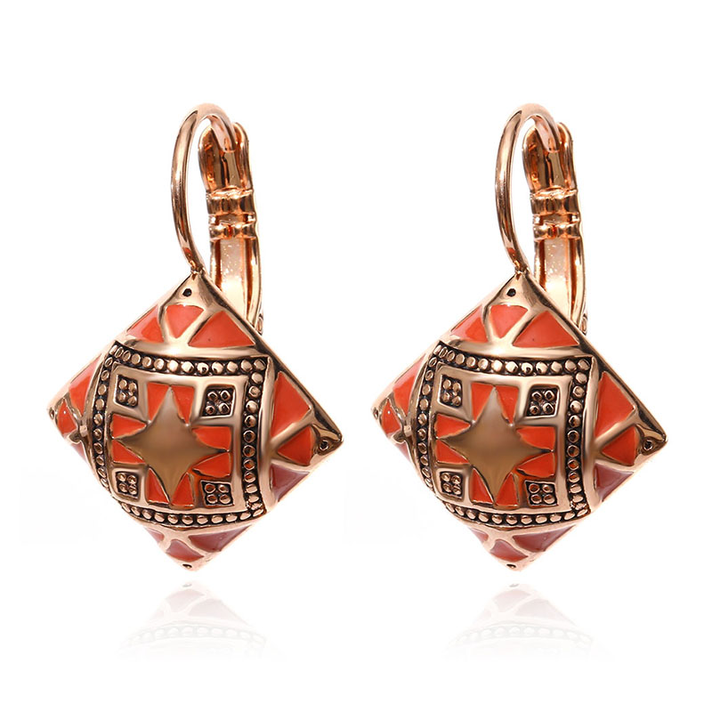 Hot New Fashion Vintage Emalje Geometrisk Square Drop Earring Sølv - Mode smykker - Foto 3