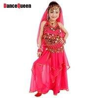 ベリーダンスの子5ピース(トップ+ dress +ウエストチェーン+ハンドチェーン+ベール)インド服インドローズ/レッド/イエロー女の子ベリー
