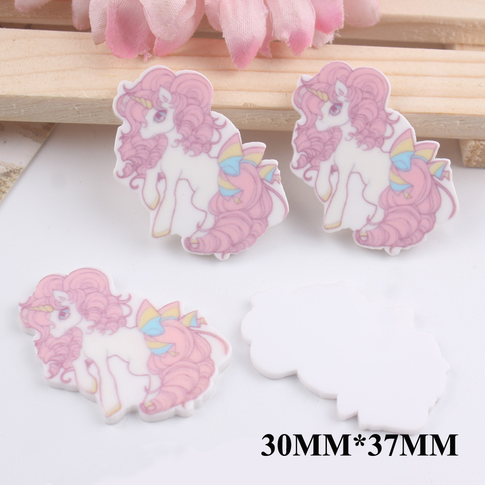 50pcs 30*37MM Cartoon Unicorn Flatback Resin For Hair Bow Accessories Horse Planar Resin DIY Craft For Home Decorations FR045