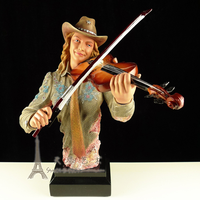 US $259 0 |Female Violin Player Figurine Resin Music Jazz Band Violinist  Statue Craft Ornament Home Bar Decoration-in Statues & Sculptures from Home  &