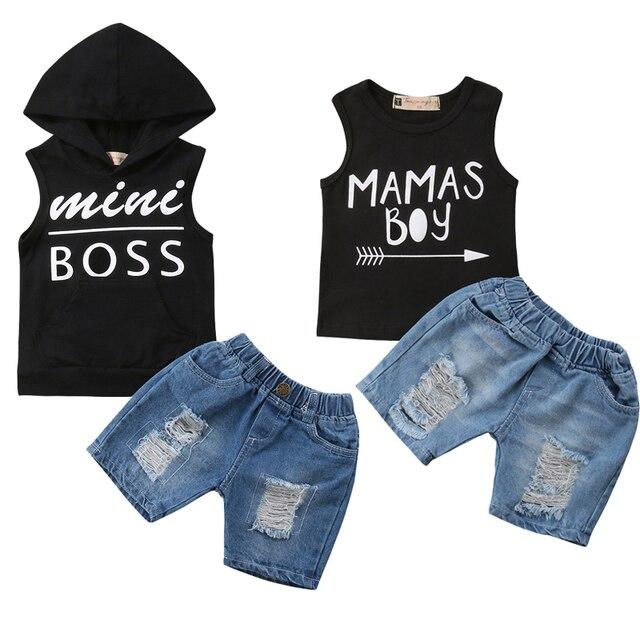 Mimi Chefe/Mãe do Menino Da Criança Do Bebê Recém-nascido Menino Sem Mangas Vest Tops + Shorts Jeans calças de Brim Do Furo 2 PCS roupas Set Roupas de Verão