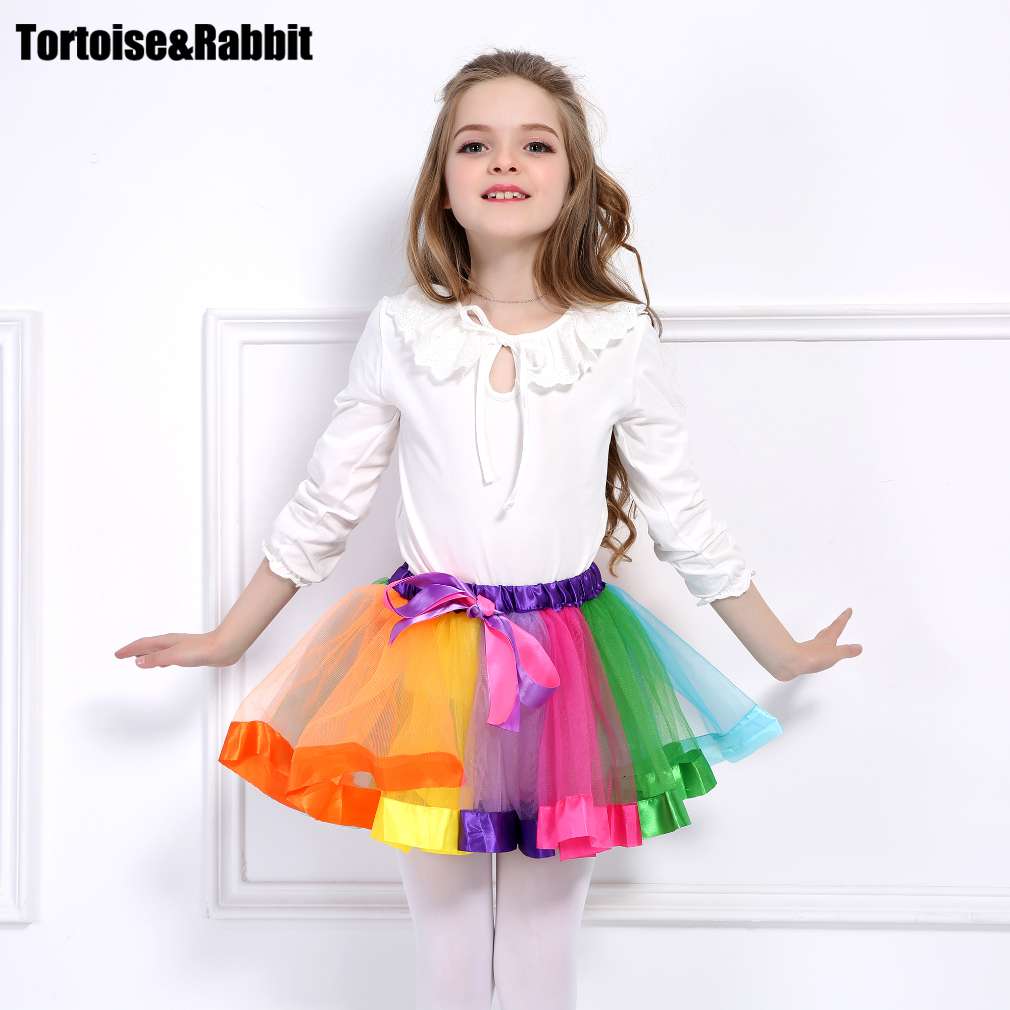 Fashion Kids Girl Tutu Skirt Rainbow Split Ballet Dance Toddler Bow Chiffon Princess Skirts Colorful Party Clothes 2 6Y In From Mother