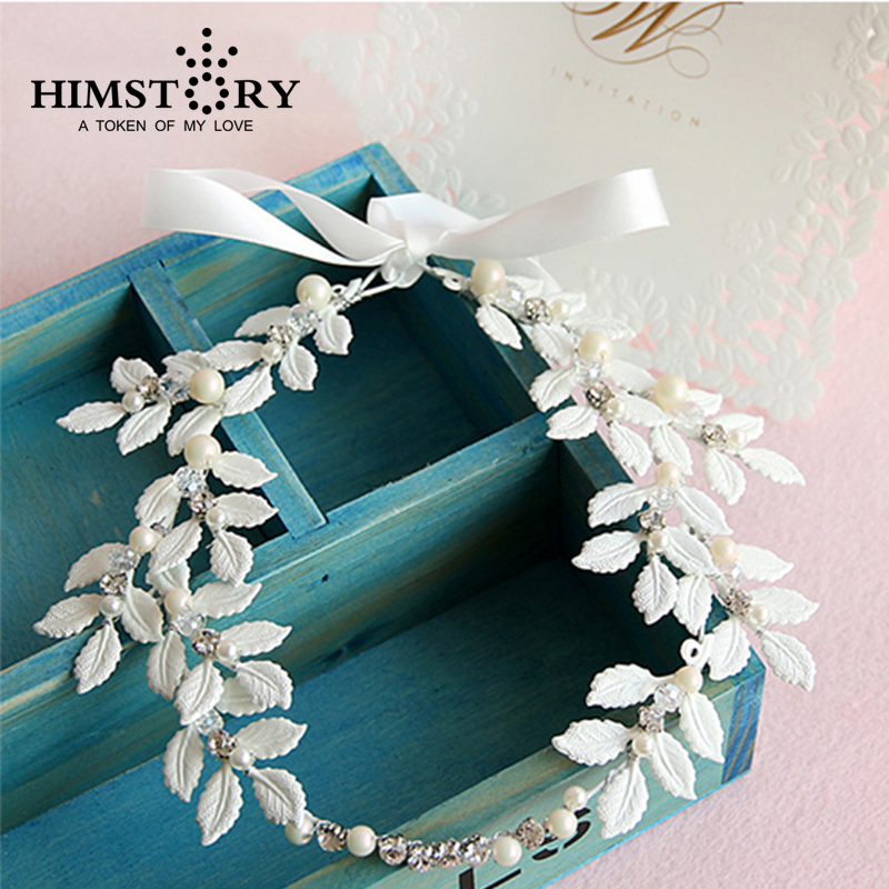 Nový příchod ručně Tiara Noiva bílý list svatební účes svatební party festival vlasové doplňky vlasy