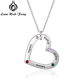 Personalized Heart  Necklaces Engraved Custom Name Necklaces with 4 Birthstone Charm Necklace DIY Family Gift (Lam Hub Fong) personalized arabic name necklace custom name letter necklace 925 sterling silver diy unique gift fine jewelry lam hub fong