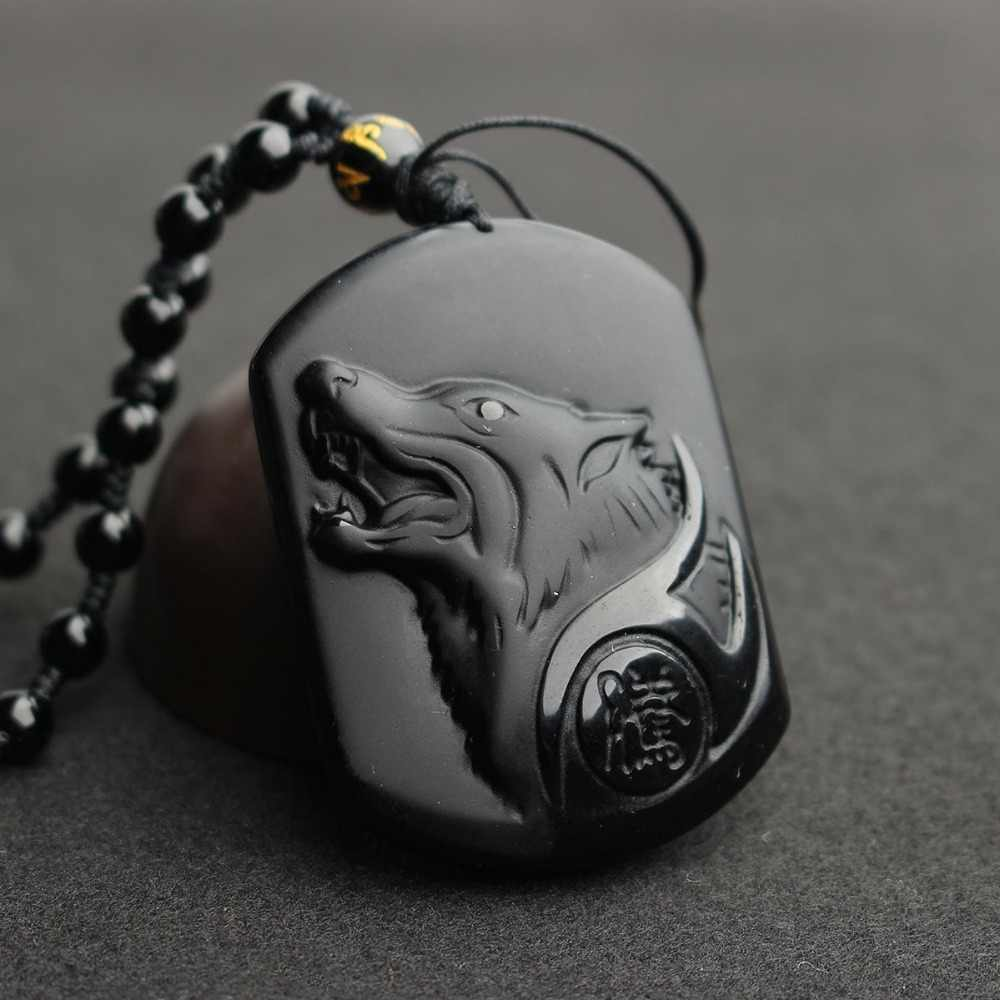 Fostfo Natural Black Obsidian Carving Wolf Head Amulet Pendant Free Necklace Obsidian Blessing Lucky Pendants Fashion Jewelry