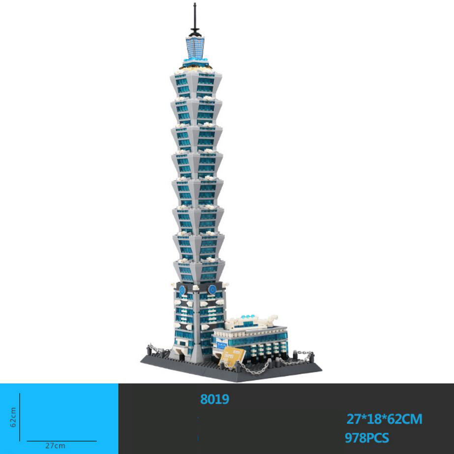 Hot world famous Architecture china Taipei 101 tower building block model bricks educational toys collection for kids adult gift loz mini diamond building block world famous architecture nanoblock easter island moai portrait stone model educational toys