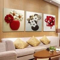 3 Pièces D'art de Toile Photo Rouge Noir Blanc Violet Fleur Bouteille Peinture murale Modulaire HD Impression Sur Toile pour la Cuisine Hôtel chambre