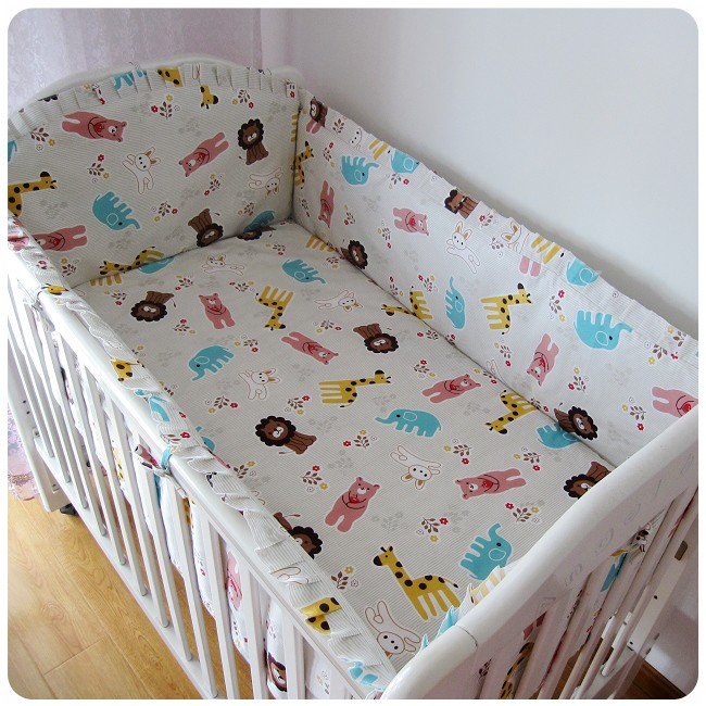 Promotion! 6PCS Cotton Baby Cot Bedding Set Cartoon Crib Bedding Set for Girls Detachable ,include:(bumper+sheet+pillow cover)