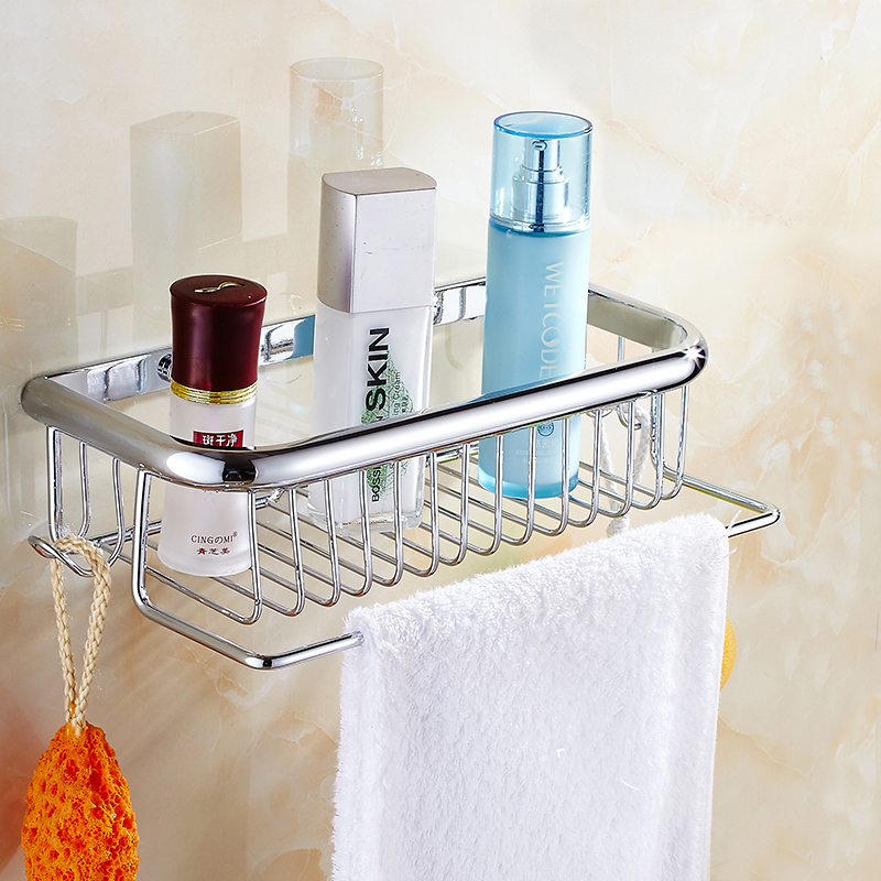 Wall Mounted Bathroom Shelves Stainless Steel Single Tier With Towel Bar Rack Holder Bathroom Shelf Bathroom Accessories