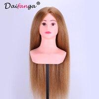 Бесплатная доставка волос манекен головы с плеча парикмахер манекен головы с настоящие волосы парикмахерских Манекены для волос Salon