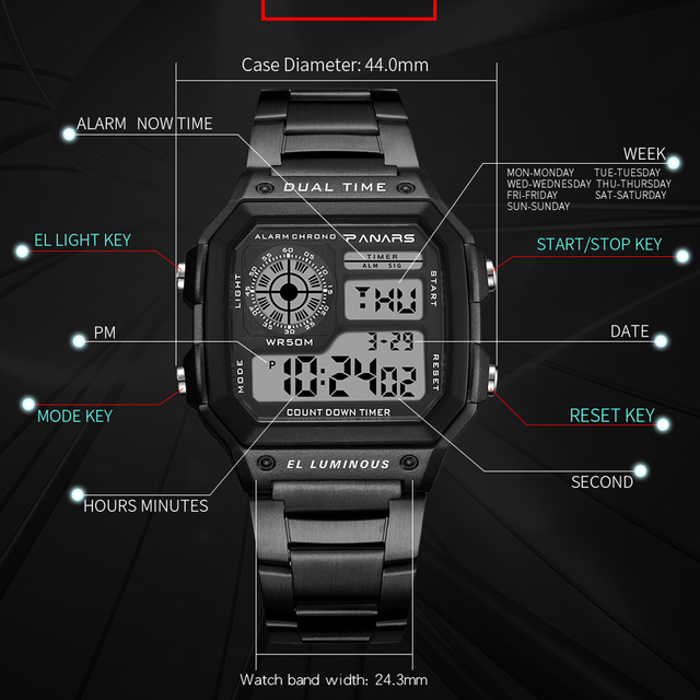 PANARS Watch Men Women Sport Relogio Masculino Digital Watches Chronograph Waterproof Watch Stainless Wristwatches Male Clock 3