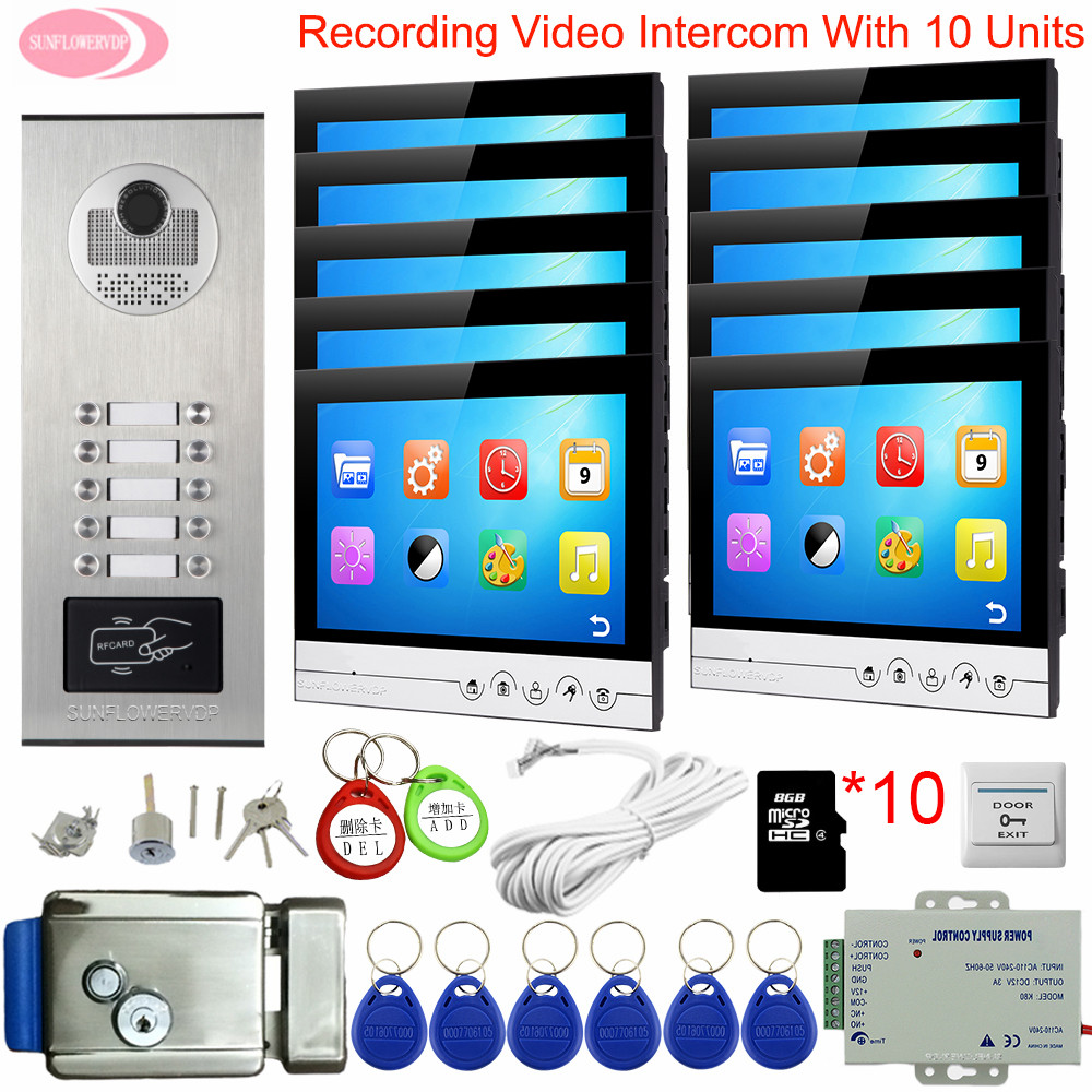 9 Inchs Video Intercom With Recording Video Doorbell System Video Phone For 4 To 10 Apartment +8GB TF Card Electronic Door Lock