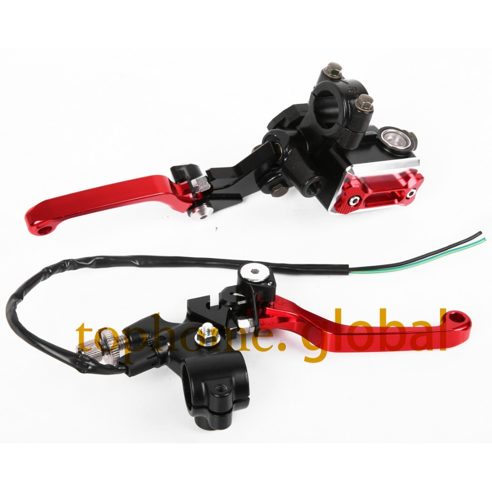 New CNC 7/8 Brake Master Cylinder Pressure Switch Reservoir Levers Red For Honda XR230/MOTARD 2005-2009 2006 2007 2008 95