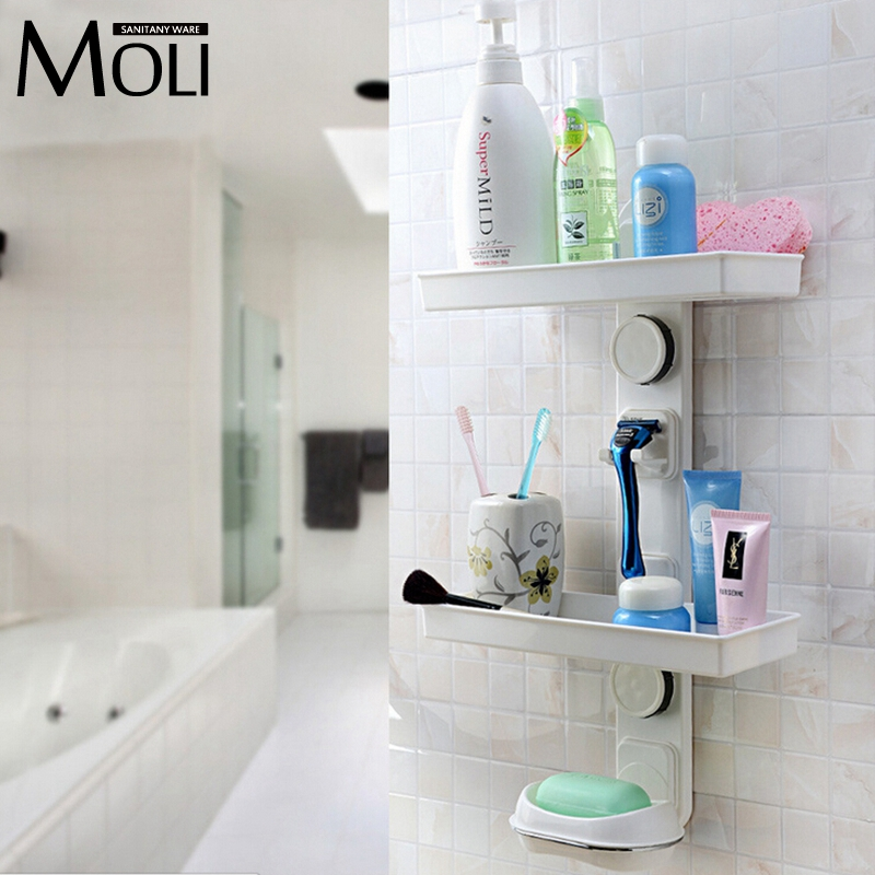 Multifunction Suction Cup Bathroom Shelf Wall Mounted Dual