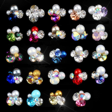 10pcs/set Colorful Shiny Crystal Nail Art Rhinestones Manicure Charms 3D Flower Design Charm Glass Jewelry JE1-17
