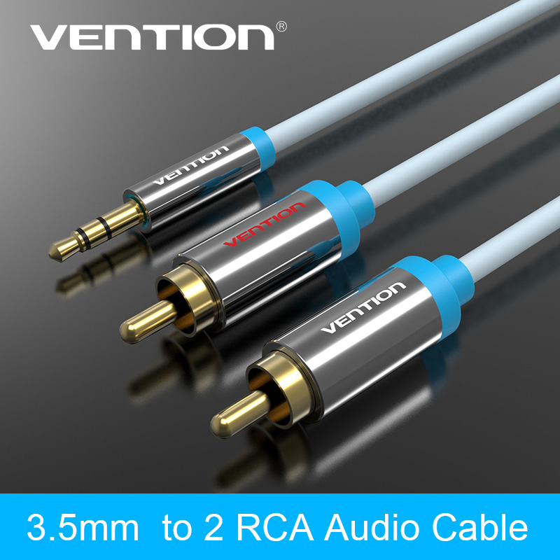Vention Brand 2RCA to 3.5mm Male aux Cable Gold Plated 3.5 Jack RCA Audio Cables Headphone aux Jack Splitter For Iphone