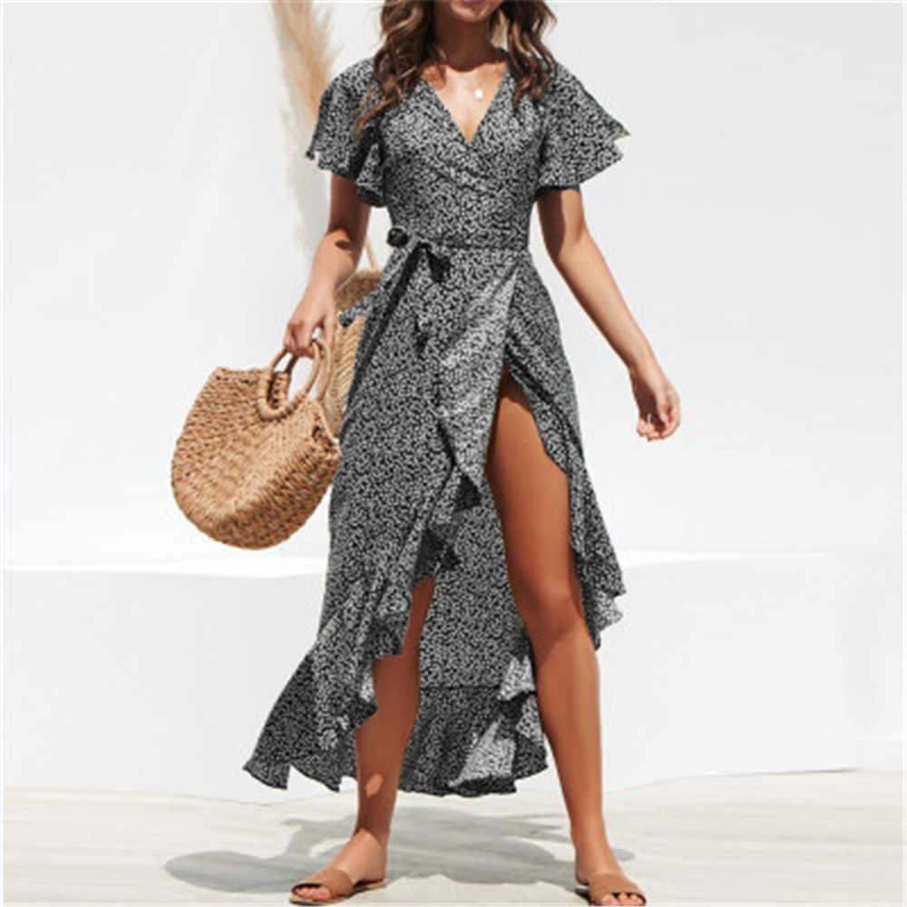 Mode femme été Sexy col en v fendu volant ourlet Maxi robes manches courtes à lacets en mousseline de soie robes longues