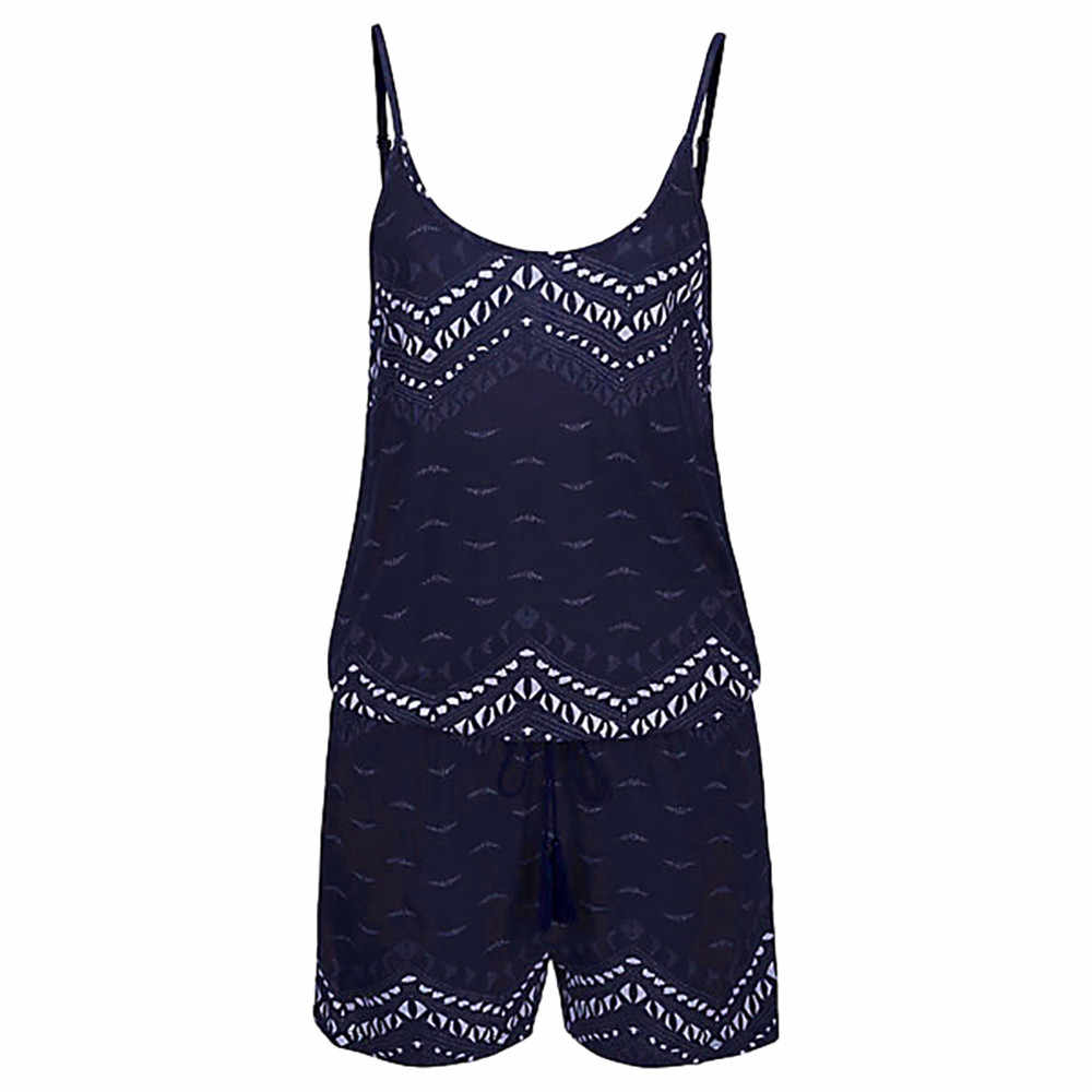 Rompers womens jumpsuit Holiday Strap Mini Playsuit Ladies Summer Shorts Jumpsuit Beach Strappy strapless Party Jumpsuit Womens