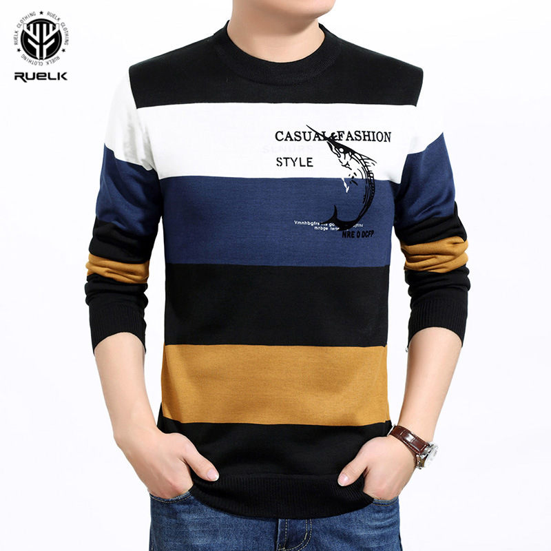 RUELK 2019 Winter Casual Men's Sweater O-Neck Striped Slim Fit Knittwear Mens Sweaters Pullovers Pullover Men Pull Homme