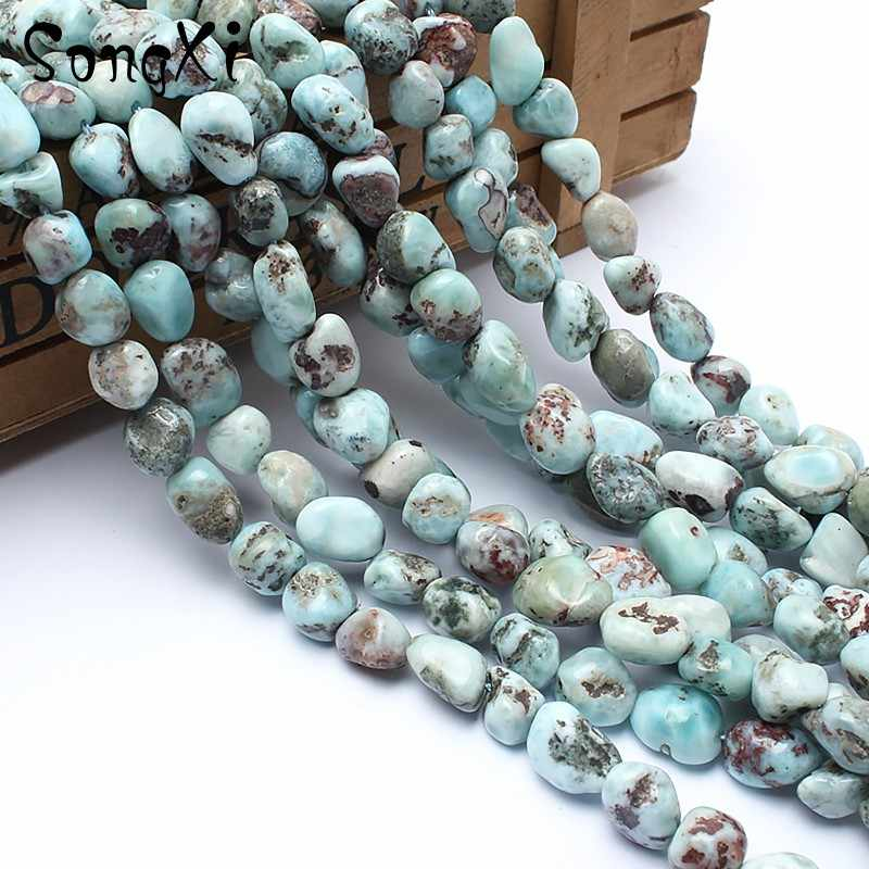 8-10mm naturalny nieregularny Larimar kamień koraliki do tworzenia biżuterii luźny koralik Fit naszyjnik diy bransoletka biżuteria 15 ''Strand