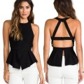 Summer Women Blouse Sexy Bandage Tops Sleeveless Chiffon Backless TMTS4464QR-1