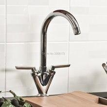 Новый Arrivor Дизайн Двойной Ручкой Латунь Горячей И Холодной Кухни Смеситель Для Мойки Кран Ванной Кухонный Кран Хромированная Отделка
