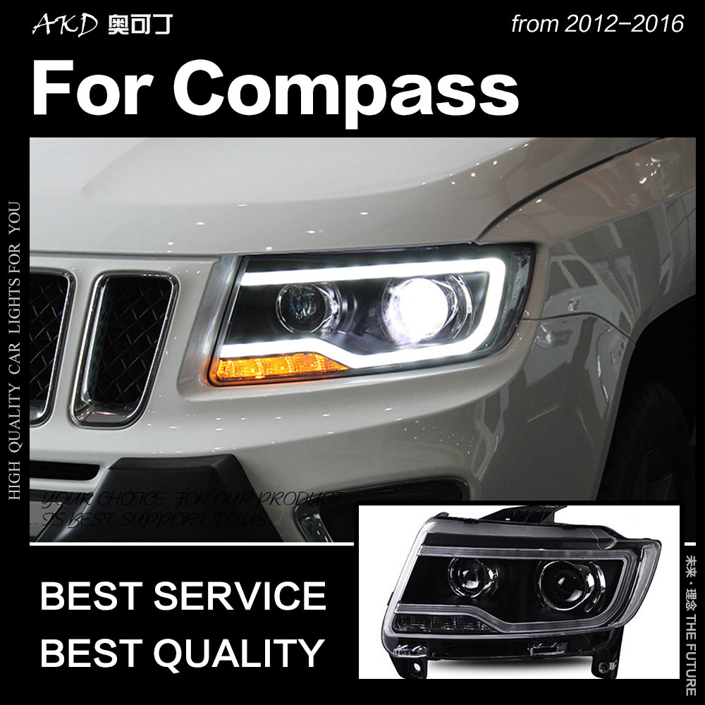 AKD Styling Carro para Jeep Compass Farol 2012-2016 Compass LED Farol Head Lamp DRL Hid Anjo Olho Bi xenon Feixe de Acessórios