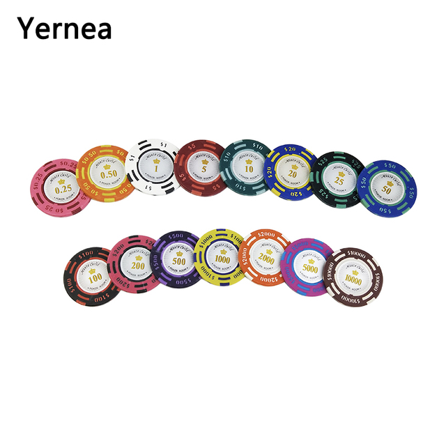 20PCS/Lot Poker Chips 14g US Dollar Sticky Clay Coin Baccarat Mahjong Texas Hold'em Poker set For Game Chips Color Crown Yernea