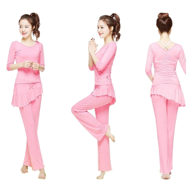 2019 Delle Donne di yoga set 3 pezzi donne sexy yoga reggiseno femminile sportwear run fitness yoga di Ballo vestito di sport del cotone modale smussato pannello esterno