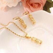 Золотое ожерелье серьги набор женские вечерние подарок Дубай ювелирное украшение в виде колонны наборы Свадебные вечерние подарки амулеты «сделай сам» детские украшения для девочек