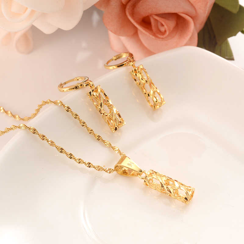 gold Necklace Earring Set Women Party Gift Dubai pillar Jewelry Sets wedding  bridal party  gift DIY charms  girls kid Jewelry